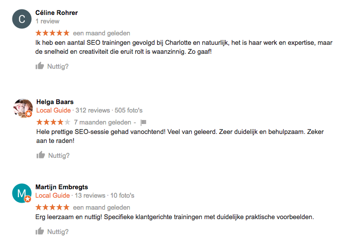 Google referenties over de training SEO schrijven van Door Lotje Getikt